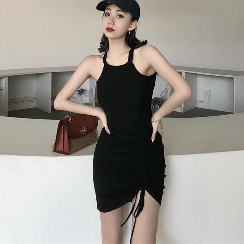 Sexy verano Bodycon vestido Halter cordón sólido de Mini Slim cadera vestido de moda de las mujeres negro 2019 nueva llegada