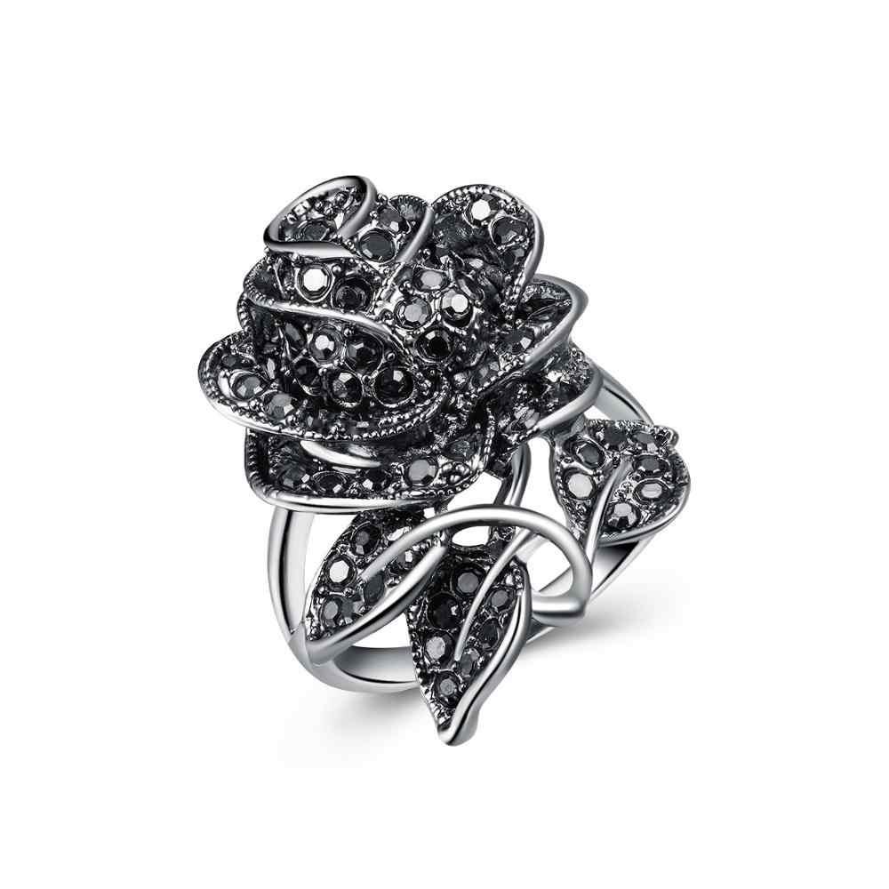 Huitan preto rosa anel com cz micro pave festa de natal ano novo jóias anéis de flores do vintage para as mulheres por atacado lotes a granel