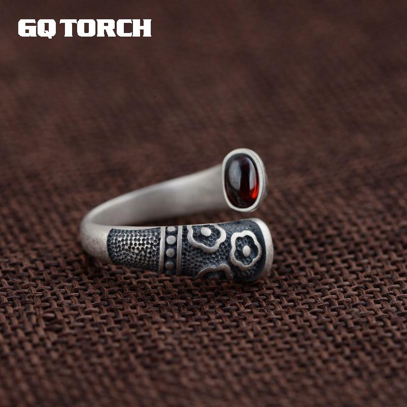 GQTORCH Vitnage Thai Silver Ring 925 Sterling Silver Rings For Women Inlaid Red Garnet Natural Gemstone Flower Engraved Grenat gqtorch natural purple amethyst rings for women 925 sterling silver jewelry vintage thai silver flower engraved anelli argento