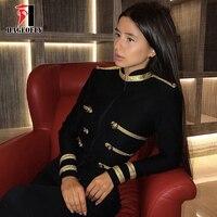 Black Buckled Gold Button Embellished Bandage Coat 2018 Winter New Designer Fashion Celebrity Long Sleeve Club Party Jackets
