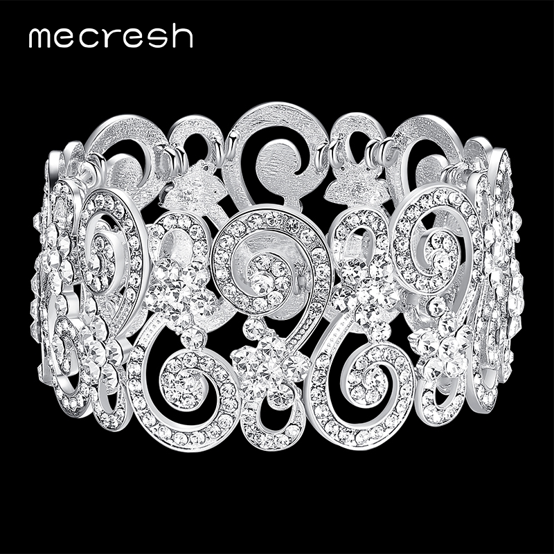 Mecresh Silver Color Crystal Bridal Bracelets & Bangles Geometric Indian Bangles for Women Party Wedding Jewelry MSL322 fashion 2 size pure tungsten steel hematite couple bracelets bangles for women jewelry mens silver color bracelets for lover s