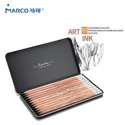 Marco 12 sztuk/SetRenault Addo szary szkic ołówki 2H 8B miękkie bezpieczne nietoksyczne szkicowanie ołówki specjalistów rysunek biuro szkoły w Standardowe ołówki od Artykuły biurowe i szkolne na