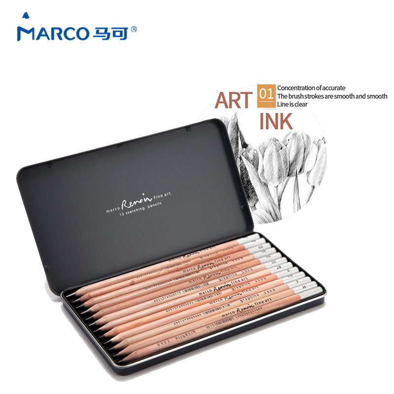 Marco 12Pcs/SetRenault Addo gray sketch <font><b>pencils</b></font> 2H-<font><b>8B</b></font> Soft Safe non-toxic Sketching <font><b>pencils</b></font> Professionals Drawing Office School image