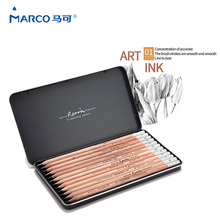 цены  Marco 12Pcs/SetRenault Addo gray sketch pencils 2H-8B Soft Safe non-toxic Sketching pencils Professionals Drawing Office School