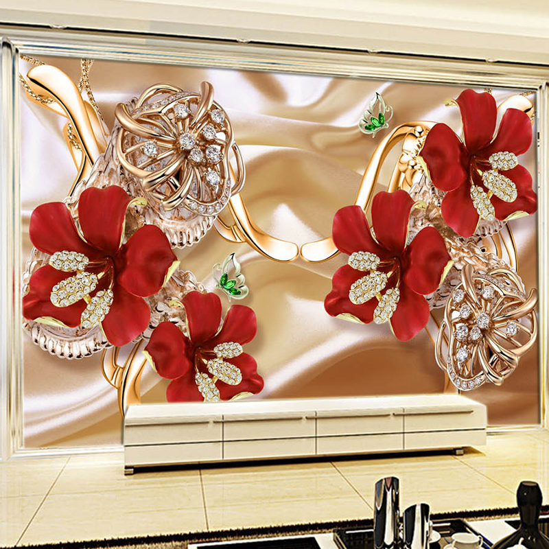 European Style Luxury Jewelry Flowers Murals Wallpaper Living Room TV Background Wall Cloth Waterproof Papers For Walls 3 D
