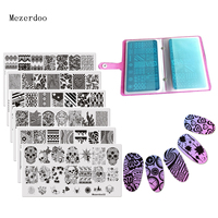 11pc/set Lace Flowers Image Print Stencil Stamp Stamping Set 1 Nail Plate Case + 10 Steel Nail Art Templates DIY Decoration Tool