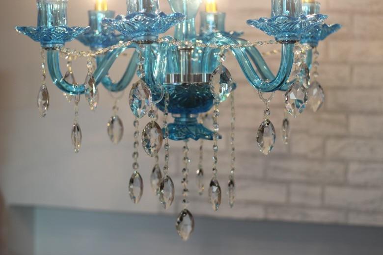 vestibule Blue green glass Chandelier lighting 6-arm home Led lights & lighting dining room hanging Chandeliers cafe light lampe
