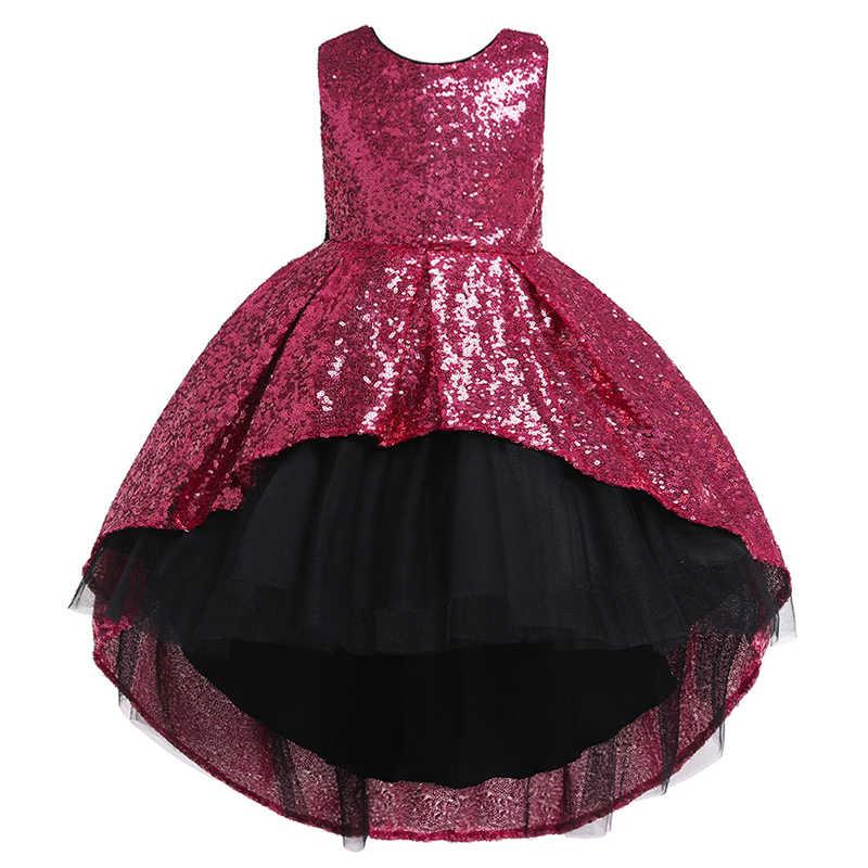 Платье с цветочным узором для девочек для свадебной вечеринки торжественное платье со шлейфом и блестками платье принцессы для девочек детское платье для подростков от 3 до 10 лет, Vestidos