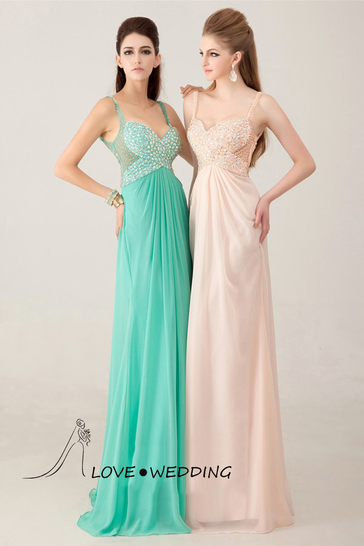 Blingbling Spaghetti Straps Mermaid Low Back Crystal Sexy Prom ...