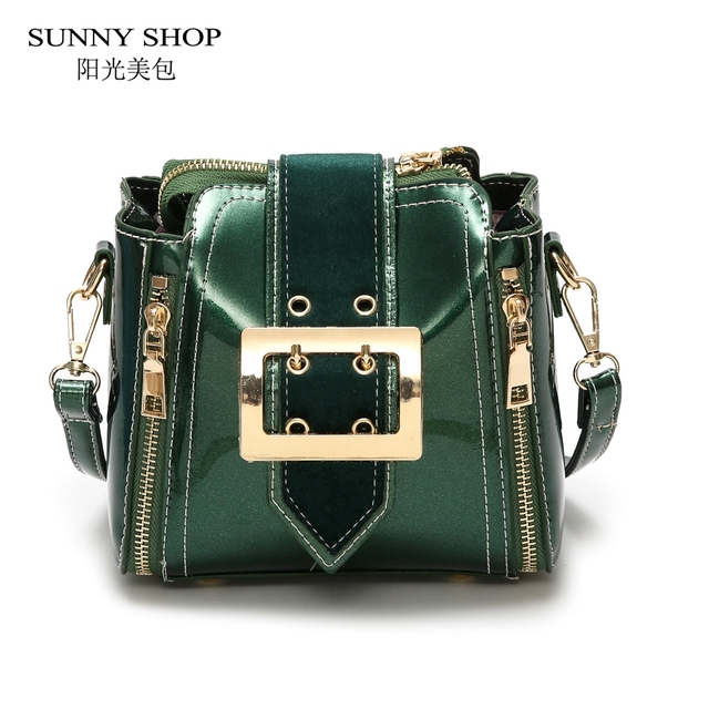 Shiny Leather Bags For Women Fashion Mini Over The Shoulder Brand Designer Sling Bag Green Blue