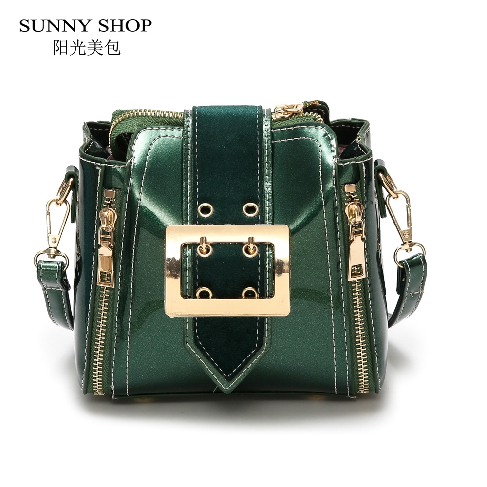 SUNNY SHOP Shiny Patent Leather Bags For Women 2018 European Fashion Mini Over The Shoulder Brand Designer Sling Bag Green Blue