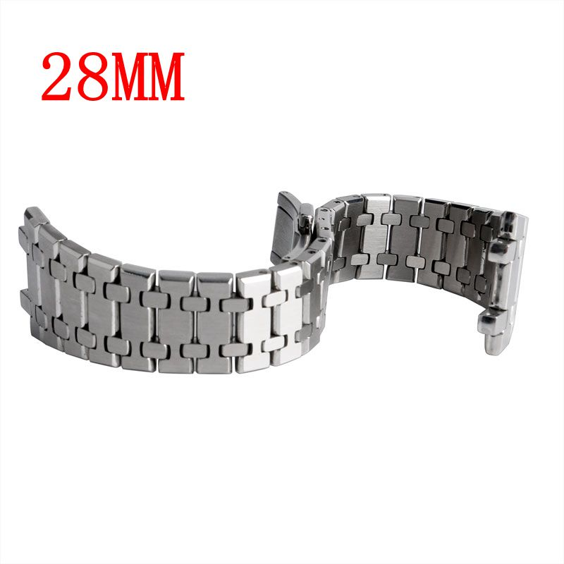 Silver Butterfly Buckle Bracelet Strap 28mm Men Push Button HQ For AP Watch Fablous Solid Stainless Steel Wrist Band Replacement цена