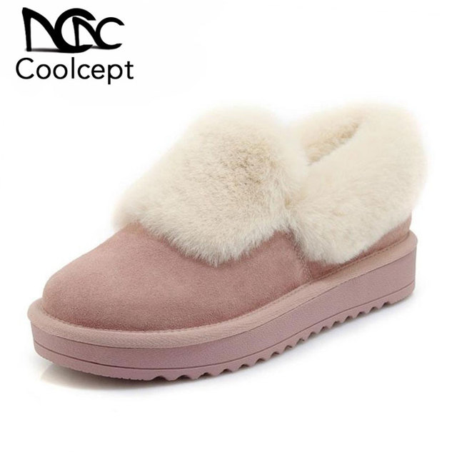 Coolcept Women Real Genuine Leather Ankle Boots Plush Fur Flats Boots Snow Winter Warm Shoes Women Indoor Footwear Size 35-40
