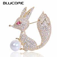 Blucome bonito animal raposa broche imitação pérola zircão broche pino jóias de cobre para roupas femininas camisa casaco cachecol acessórios