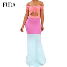 FUDA Sexy Openwork Stitching Slim Straps Drawstring Short Sleeve Dress Female Hollow Outfloor-length Summer Elegant Wear