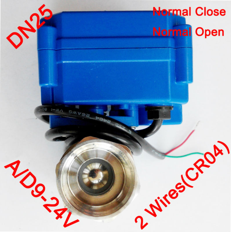 1 Miniature Electric valve 2 wires (CR04), AC/DC9-24V motorized valve SS304, DN25 electric actuated valve power off  return1 Miniature Electric valve 2 wires (CR04), AC/DC9-24V motorized valve SS304, DN25 electric actuated valve power off  return