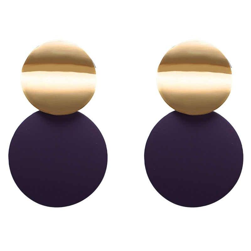 新ファッション耳ジュエリーディスクドロップ女性幾何ダブルラウンド誇張ブラブラ Brincos 素敵なパーティーのギフト EB2215