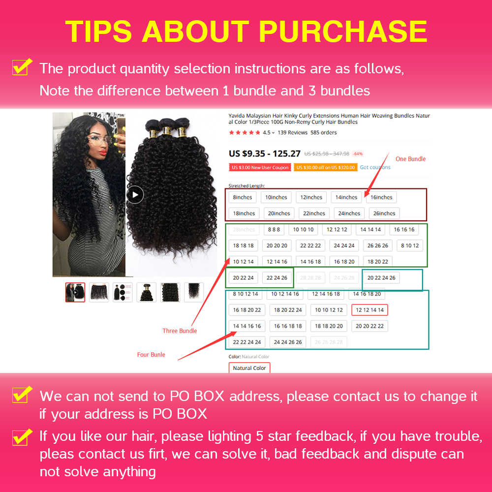Yavida מלזי שיער קינקי מתולתל תוספות שיער טבעי אריגת חבילות צבע טבעי 1/3/4pc 100g לא -רמי מתולתל שיער חבילות