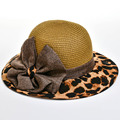 Summer Fedora Straw Sun Hats Chiffon Leopard Bow-tie Big Brim Women Panama Outdoor Casual Beach Caps Church Hat Chapeu Feminino