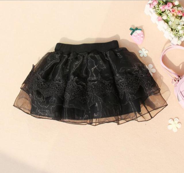 Hot 2016 Newest Korean Version Girls Lace Flower Skirts Kids Ball Down Princess Pettiskirt Student Black Dance Layered Skirts