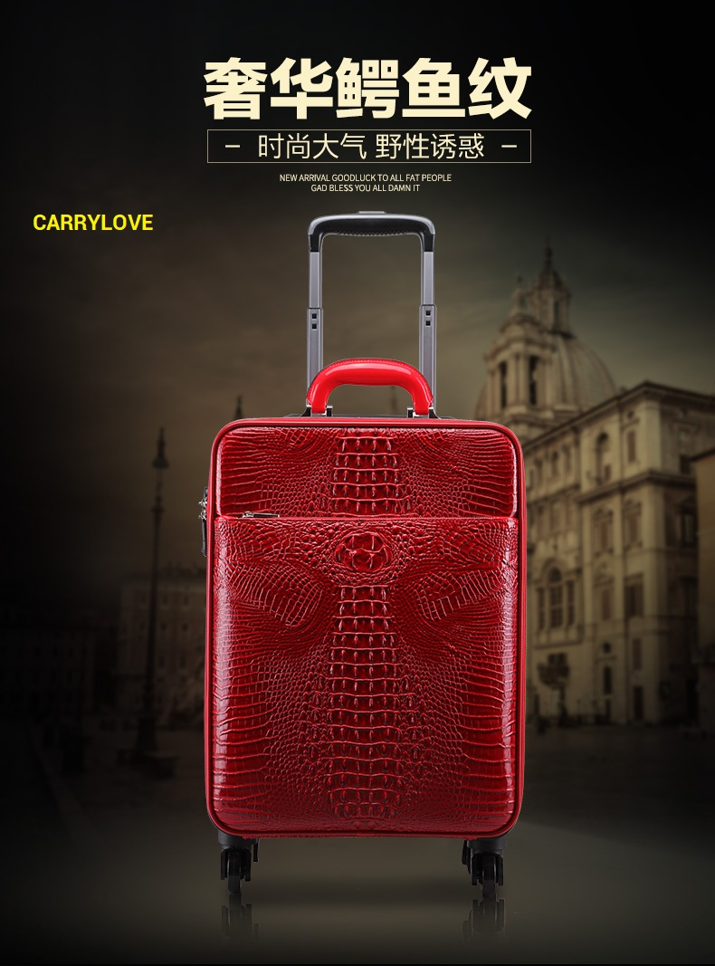 CARRYLOVE fashion luggage series 16/20/22/24 inch Hcrocodile PU Rolling Luggage Spinner brand Travel Suitcase цена