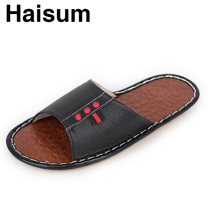 Men's Slippers Summer Genuine Leather Linen Woven Breathable Home Indoor Non-slip Slippers 2018 New Hot Tb018 ladies slippers summer genuine leather linen woven breathable home indoor non slip slippers 2018 new hot haisum tb010