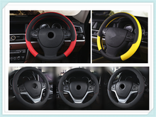 High quality PU leather car interior steering wheel cover 38 cm weave for Ford SVT Reflex Freestar F150 Crown BF 4-Trac