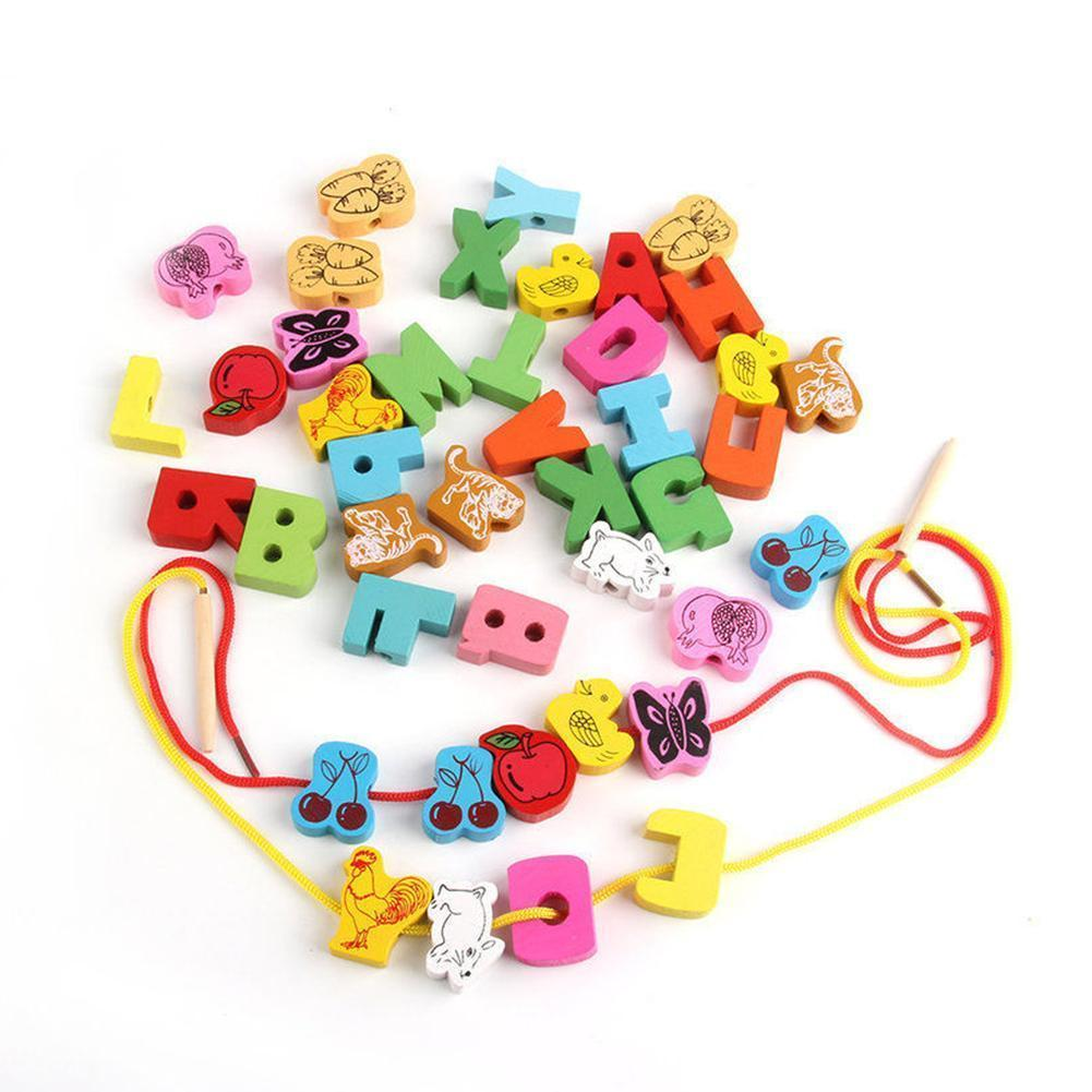 1 Set Durable Wooden Lacing Beads Preschool Toys High Quality Heart Shape Box Threading Educational Toy For Children Gift