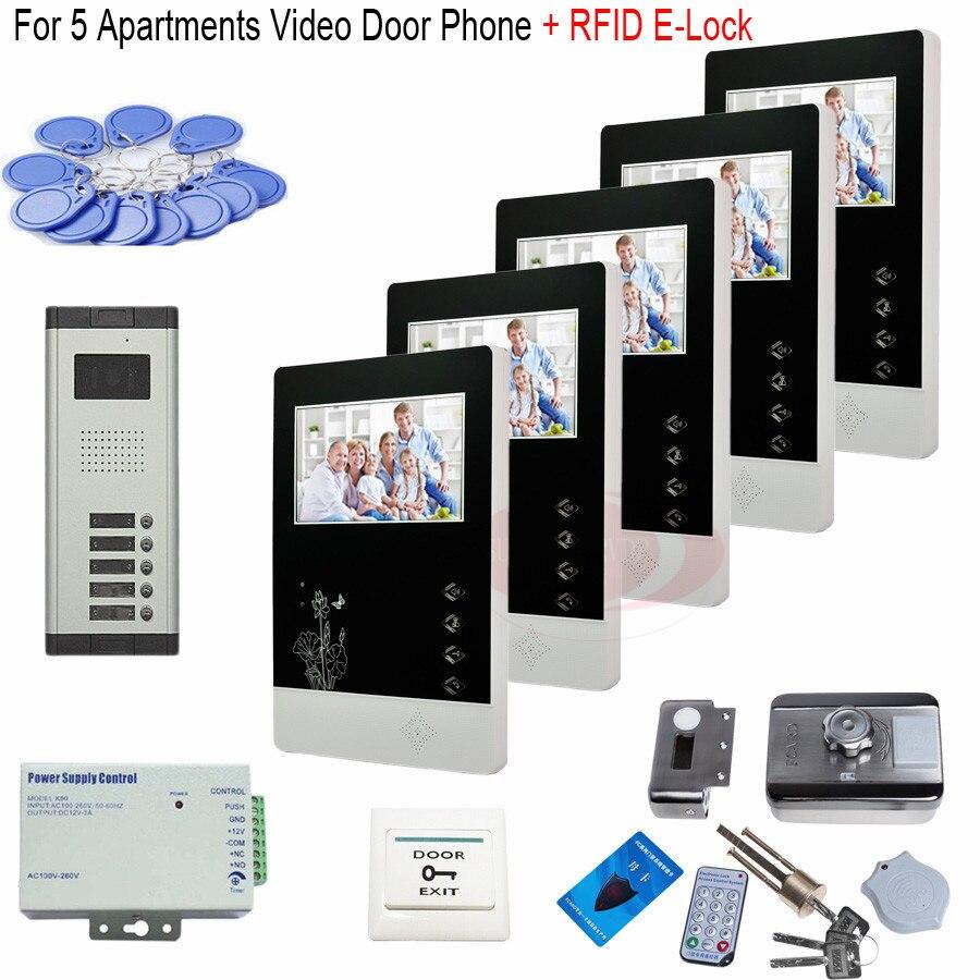 For 5 Apartments Video Door Phone Doorbell 5 Keys HD Door Camera Intercom +RFID Electronic Lock In Stock!