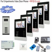 For 4 Apartments 7 Inch Video Door Phone Doorbell Handfree Intercom Kit+RFID Electronic lock In Stock! цена и фото