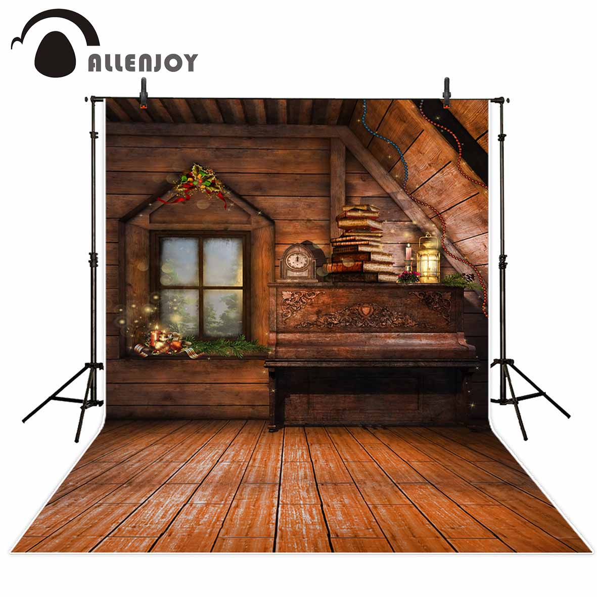 Allenjoy photography backdrop Christmas decorations vintage Piano alarm clock background for photo studio camera fotografica great spaces home extensions лучшие пристройки к дому