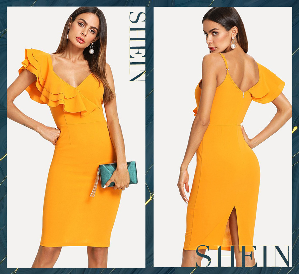 SHEIN Sleeveless Ruffle Layered Flounce Trim Split Back V Neck Party Bodycon Dress Women Summer Knee Length Slim Pencil Dress