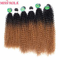 Miss Rola Ombre Kinky Curly Hair Bundles Synthetic Hair Weaves 18-22'' Bundles With Closure Hair Extensions