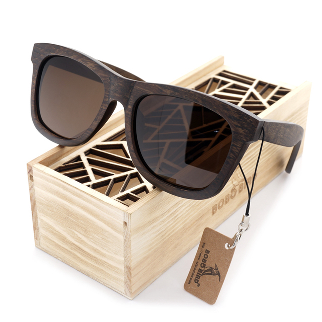 100% Natural Ebony Wooden Sunglasses Men's Luxury Brand Design Square Polarized Sun Glasses With Wooden Gift Box