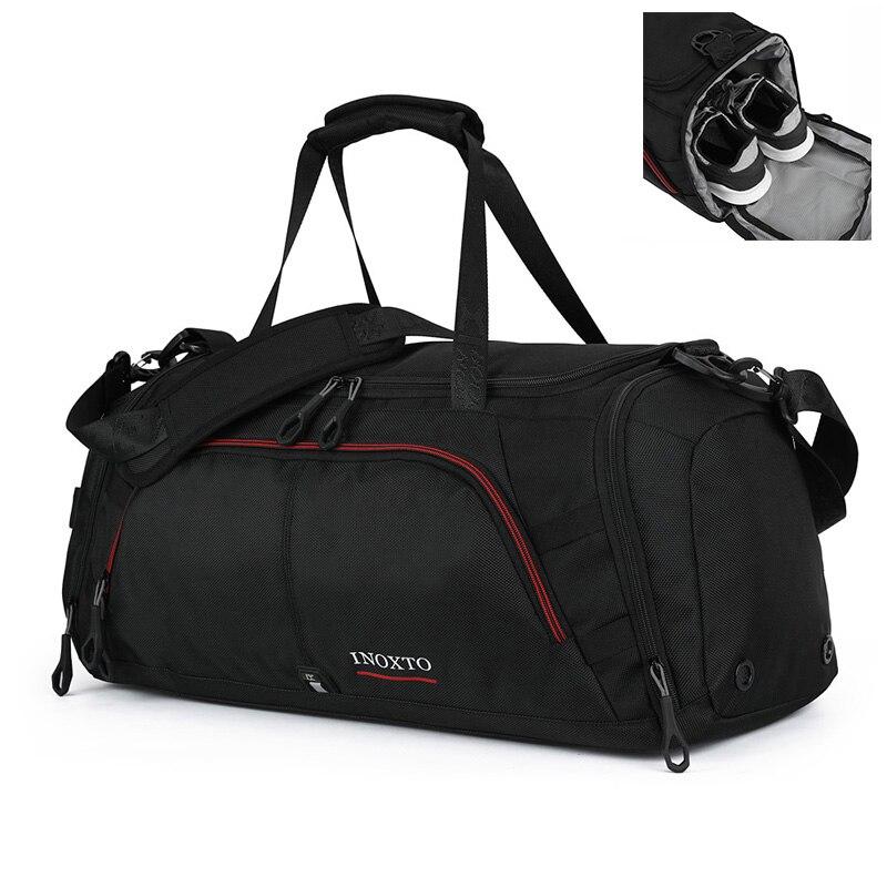 Sacs d'épaule imperméables noirs de gymnase de grande capacité de sac de voyage d'affaires de Polyester d'hommes avec l'entrepôt de chaussures