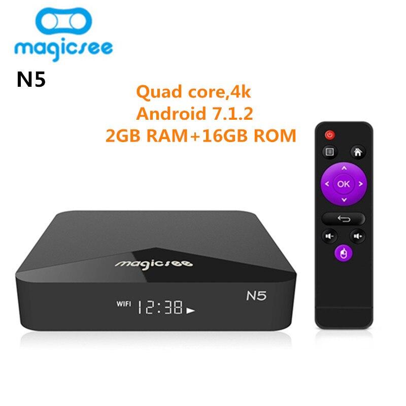 MAGICSEE N5 Smart TV Box Android TV Box OSAmlogic S905X Android 7.1.2 2 gb RAM 16 gb ROM 2,4g 5g WiFi 100 Mbps BT4.1 Set Top Box