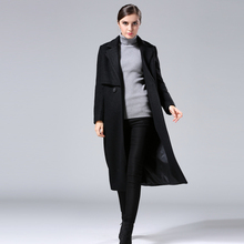 2016 Fashion European and American Women's Long Winter Coat Double Breasted Black Wool Jacket Coat Female Woolen Overcoat S-4XL
