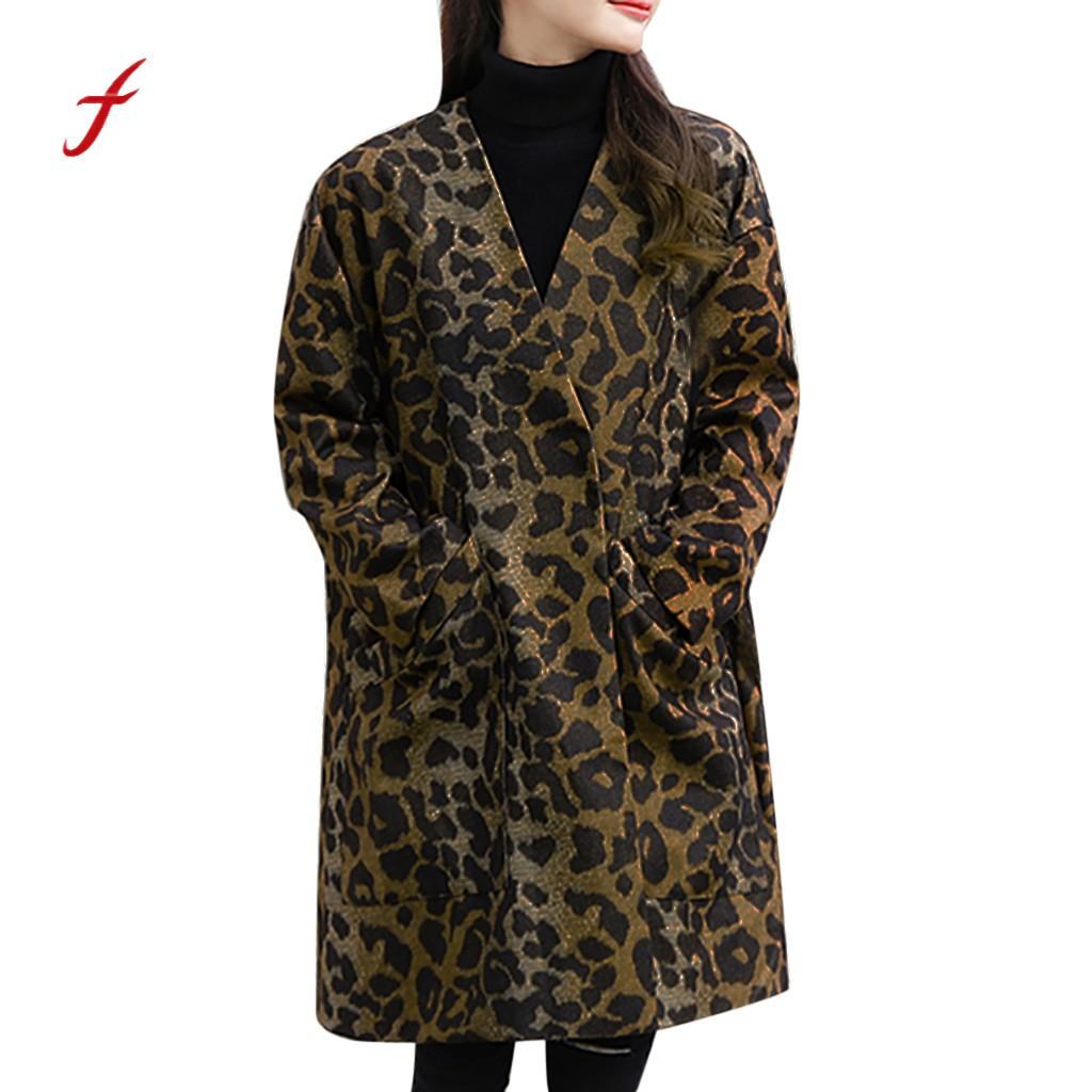 Sleeve Long Women's Thick Warm Coffee Leopard Winter Plus Autumn Size Coat pt Jacket Ladies Outerwear neck Casual V xwq1HxXIY4