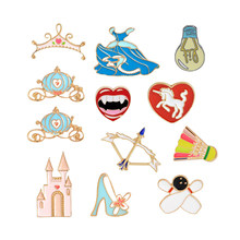 Cartoon Light Bulb Brooch Pin Bow Arrow Horse Bowling Badminton Castle Dress Pumpkin Cars Crown Red Lips Pins Badge Hats Jewelry(China)