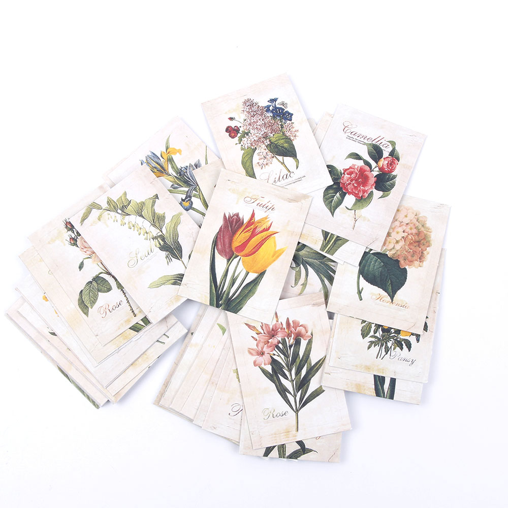 52 Pcs/bag DIY Mini Cute Flower Paper Sticker Vintage Retro Paper For Scrapbooking Home Decoration