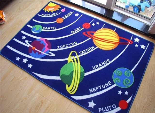 Carpet Kids Room 100% Nylon Blue Solar System Shape Carpet And Rugs Kids  Baby Play Mat Gift For Boys Children Rugs Area Rugs