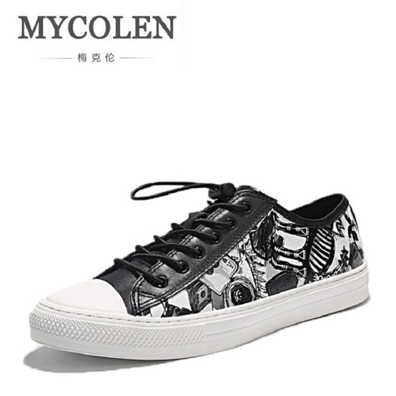 MYCOLEN Men Shoes Lace-Up Men Casual Shoes New 2017 Plimsolls Breathable Male Footwear Spring Autumn Printed Men Leather Shoes 2017 men shoes fashion genuine leather oxfords shoes men s flats lace up men dress shoes spring autumn hombre wedding sapatos