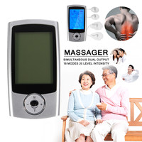 KIFIT Digital 16 Modes Portable Electric Pulse TENS EMS Massager Machine LCD Screen +16 Therapy Modes+Dual Output Massage Tool