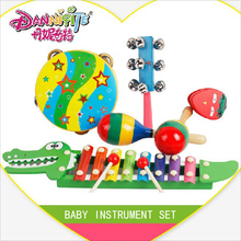 DANNIQITE 5pcs/set Toy Musical Instrument Kids Toys Wooden Handbell Hammer  Musical Instruments Sets Children Gift