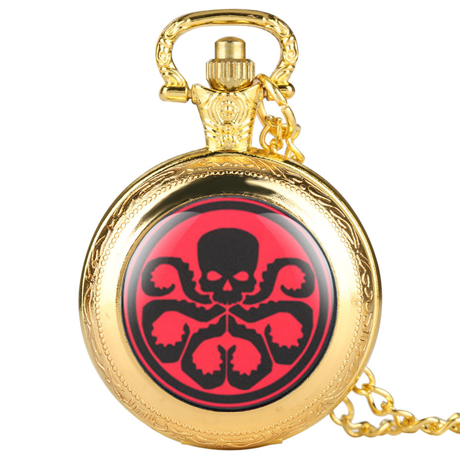 Marvel Hydra Quartz Pocket Watch Men Necklace Pendant Casual Fob Watches Clock For Kids Male 2019 New Style Gifts