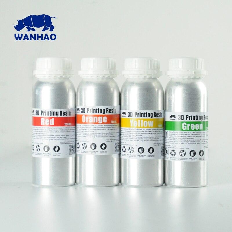 Wanhao Photoconductive Résine 405NM UV Résine Wanhao D7 Imprimante D7 Résine DLP/SLA 3D Imprimante Résine 1L/Bouteille 2 pcs/500 ml 4 pcs/250 ml