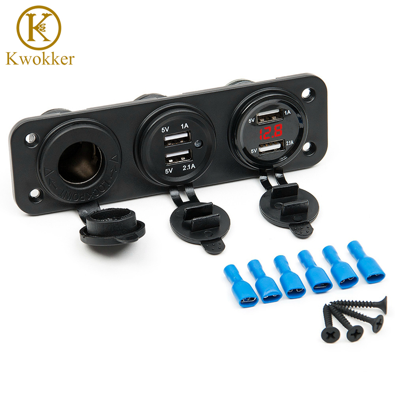 4 USB Plug <font><b>Car</b></font> Motorcycle <font><b>Cigarette</b></font> Lighter Socket <font><b>Car</b></font> <font><b>Charger</b></font> LED Digital Display Digital Voltmeter <font><b>12V</b></font> Electric Voltage Meter image