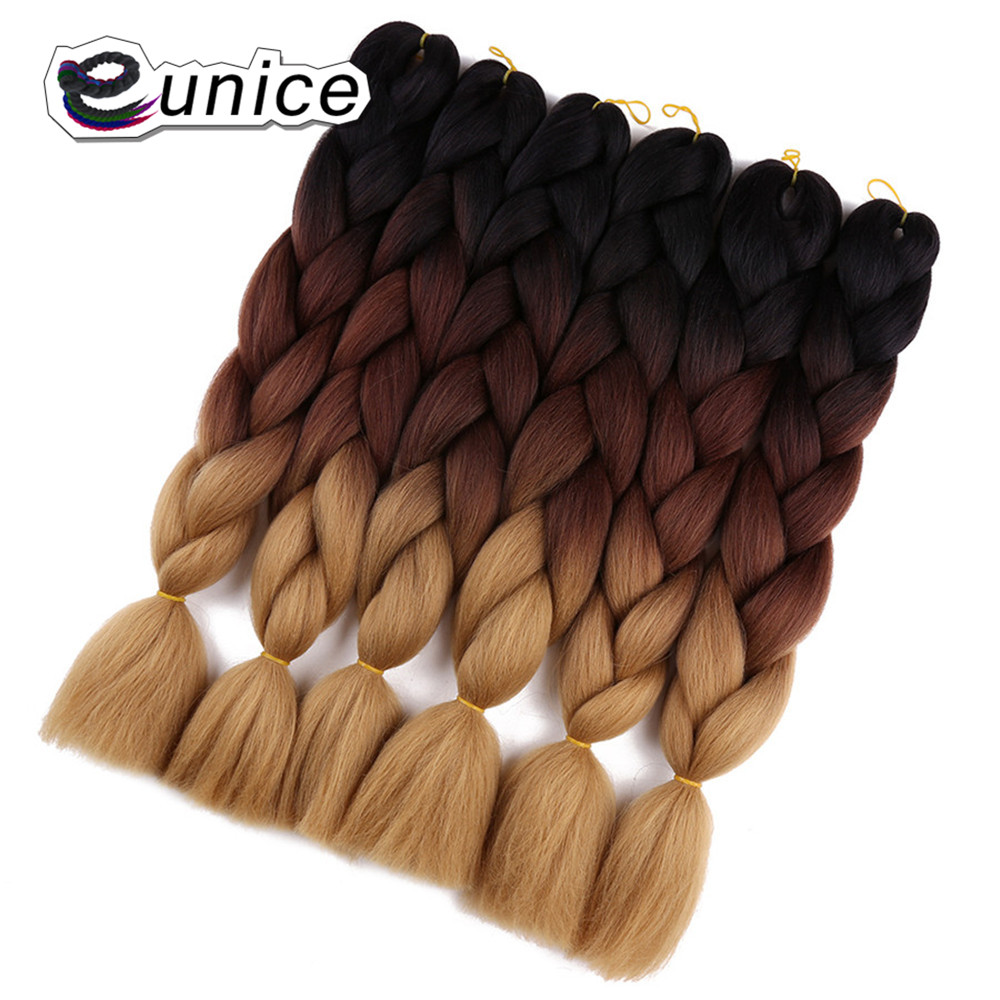 Eunice Blonde Synthetic Hair For Crochet Braided Twist Jumbo Braids Ombre Hair Extensions 24
