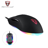 Motospeed V60 RGB Gaming Mouse Gamer Programming 5000DPI USB Computer 7 Button Wried Optical Mice Backlit Breathe LED for PC Lap