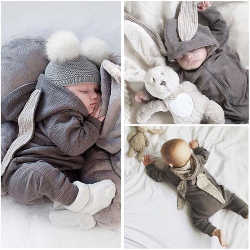 Cute Rabbit Ear Hooded Baby Rompers For Babies Boys Girls Clothes Newborn Clothing Brands Jumpsuit Infant Costume Baby Outfit toddler newborn girls dress rabbit ears cartoon print heart letter warm hooded dress outfit clothing new year s costume